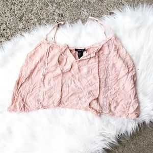 Forever 21 Pink Lace Floral Crop Tank Top